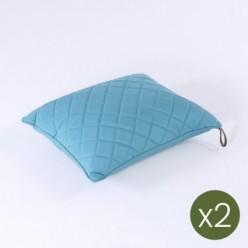 Cojín decorativo de exterior estándar 40x50 color turquesa - Pack 2 unidades
