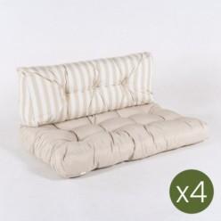 Cojines para palets asiento vainilla y respaldo rayas vainilla - Pack 4 unidades