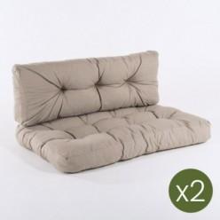 Cojines para palets asiento y respaldo olefin marrón tostado - Pack 2 unidades