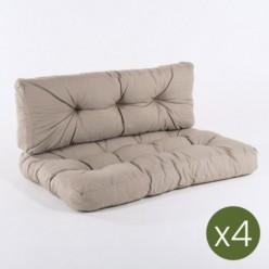 Cojines para palets asiento y respaldo olefin marrón tostado - Pack 4 unidades
