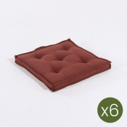 Cojín asiento de jardín 42 cm olefin rojo - Pack 6 unidades