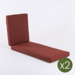 Cojín tumbona alto grosor para jardín olefin rojo - Pack 2 unidades