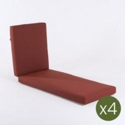 Cojín tumbona alto grosor para jardín olefin rojo - Pack 4 unidades