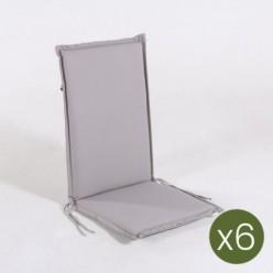 Cojín con respaldo para sillón apilable de jardín estándar piedra - Pack 6 unidades