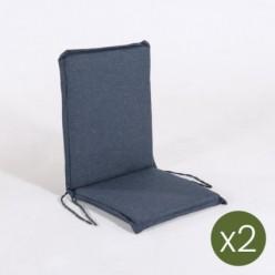 Cojín posiciones silla teca para jardín olefin azul - Pack 2 unidades
