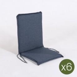 Cojín posiciones silla teca para jardín olefin azul - Pack 6 unidades