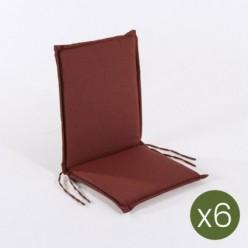 Cojín posiciones silla de teca para jardín olefin rojo - Pack 6 unidades