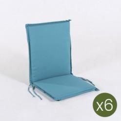 Cojín posiciones silla teca para jardín estándar turquesa - Pack 6 unidades