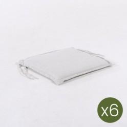 Cojín para silla de teca de jardín olefin  gris claro - Pack 6 unidades