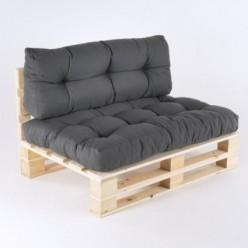 Sofá de palés con cojines asiento y respaldo Olefin gris