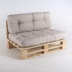 Sofá de palets con cojines asiento y respaldo Olefin crudo