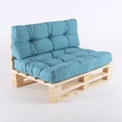 Sofá de palets con cojines asiento y respaldo turquesa