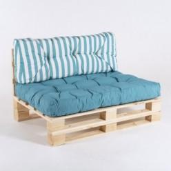 Sofa de palet con sus cojines asiento y respaldo rayas turquesa