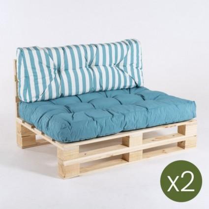Sofa de palet con sus cojines asiento y respaldo rayas turquesa - Pack 2 unidades