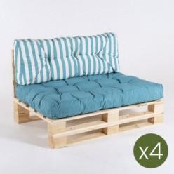 Sofa de palet con sus cojines asiento y respaldo rayas turquesa - Pack 4 unidades