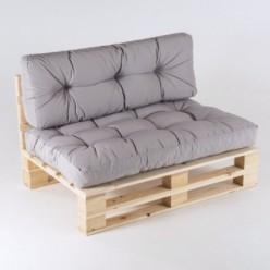 Sofá de palets con cojines asiento y respaldo color piedra