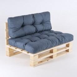 Sofá de palés con sus cojines asiento y respaldo Olefin azul