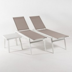 Conjunto de exterior, 2 tumbonas reclinables y mesa auxiliar