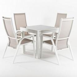 Conjunto mesa extensible 80/160 y 4 sillones jardín reclinables Laver