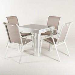 Conjunto de jardín. Mesa extensible 80/160 y 4 sillones Laver