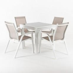 Conjunto muebles jardín. Mesa extensible 80/160 y 4 sillones reforzados Laver