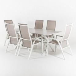 Conjunto mesa jardín 190 cm y 6 sillones reclinables Laver