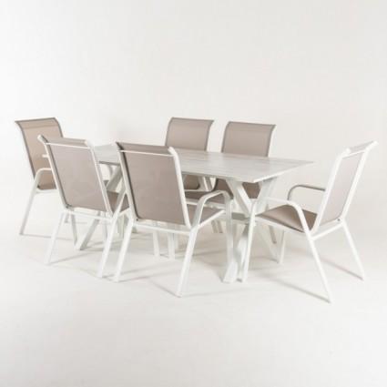 Conjunto mesa 190 cm y 6 sillones jardín apilables Laver