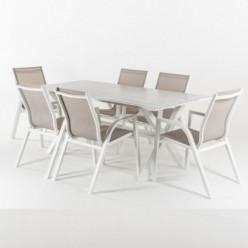 Conjunto mesa jardín 190 cm y 6 sillones aluminio reforzado Laver