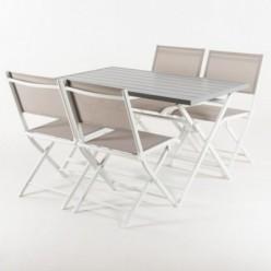 Conjunto para jardín de mesa y 4 sillas de aluminio plegables Laver