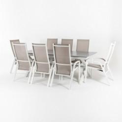 Conjunto de exterior mesa extensible 215-295 y 8 sillones apilables y reclinables laver