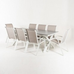 Conjunto para exterior de mesa extensible 215-295 y 8 sillones apilables Laver