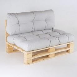 Sofá de palet con cojines Olefin gris claro asiento y respaldo