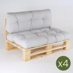 Sofá de palets y cojines asiento con respaldo Olefin gris claro - Pack 4 unidades