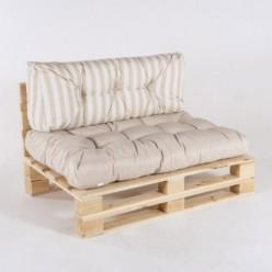 Sofa de palet con sus cojines asiento vainilla  y respaldo rayas vainilla