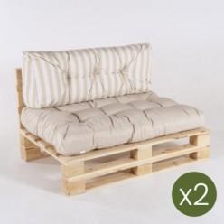 Sofa de palet con sus cojines asiento vainilla  y respaldo rayas vainilla - Pack 2 unidades