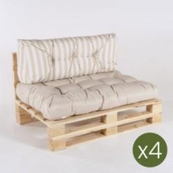 Sofa de palet con sus cojines asiento vainilla  y respaldo rayas vainilla - Pack 4 unidades