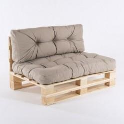 Sofa de palets y cojines asiento y respaldo olefin marrón tostado