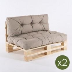 Sofa de palets y cojines asiento y respaldo olefin marrón tostado - Pack 2 unidades