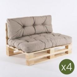 Sofa de palets y cojines asiento y respaldo olefin marrón tostado - Pack 4 unidades
