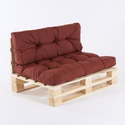 Sofa de palets y cojines asiento y respaldo olefin rojo