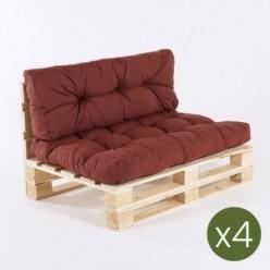 Sofa de palets y cojines asiento y respaldo olefin rojo - Pack 4 unidades
