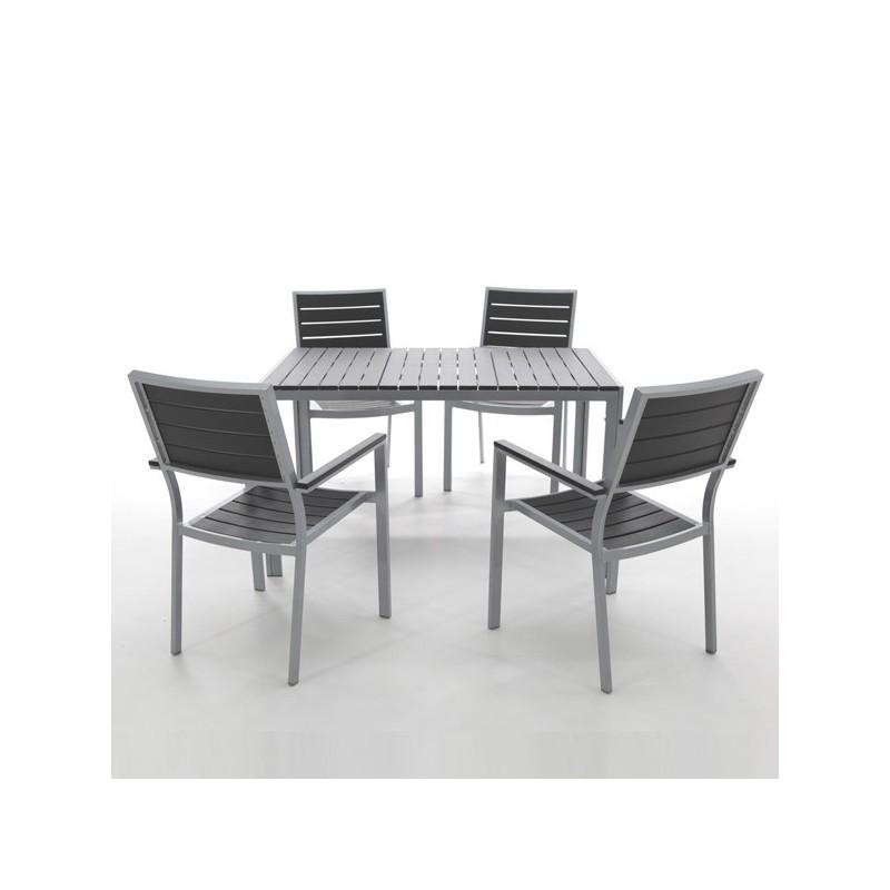 Conjunto mesa y 4 sillones de exterior y resina washington for Sillones de exterior