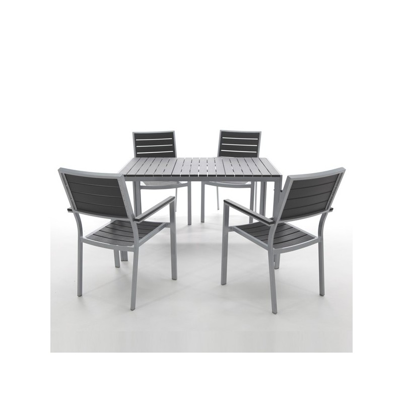 Mesa de exterior y resina imitacion madera washington for Conjunto de mesa de madera y silla de jardin barato