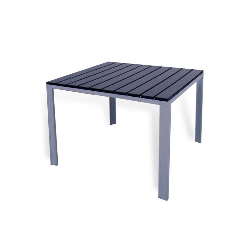 Mesa de exterior y resina imitacion madera 80 washington for Mesa jardin aluminio