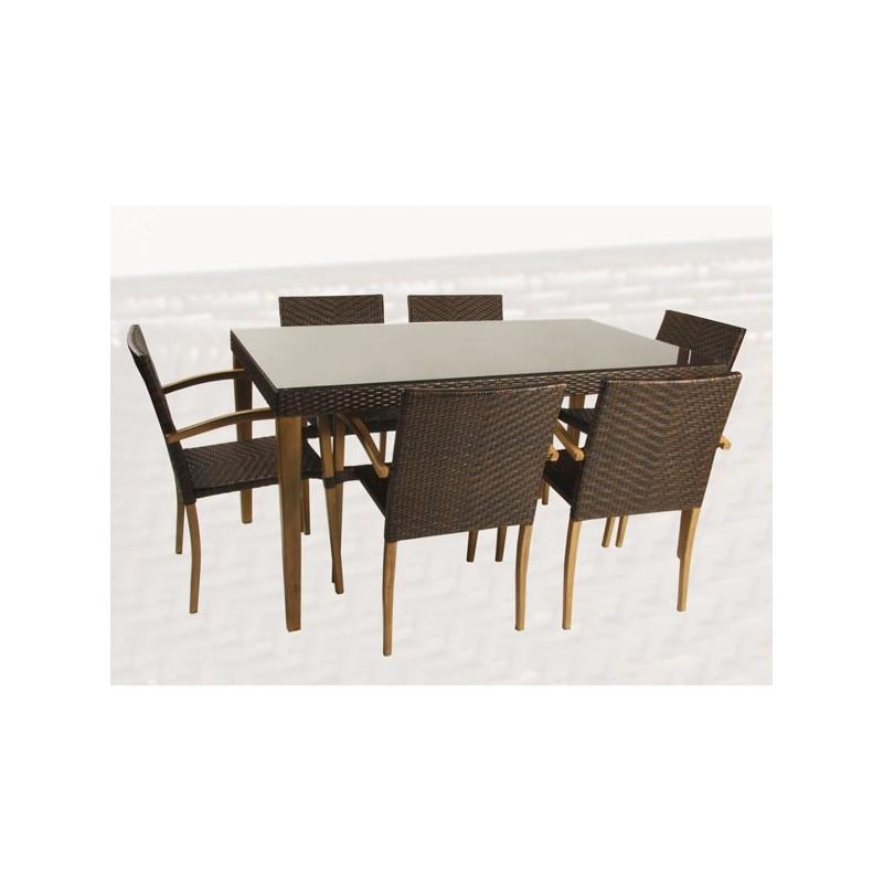 Conjunto mesa y 6 sillones imitacion madera oklahoma - Conjunto jardin madera ...