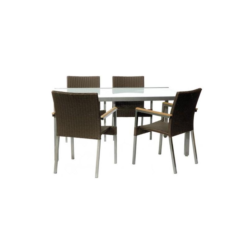 Conjunto mesa y 4 sillas mix cleveland for Conjunto mesa y sillas jardin