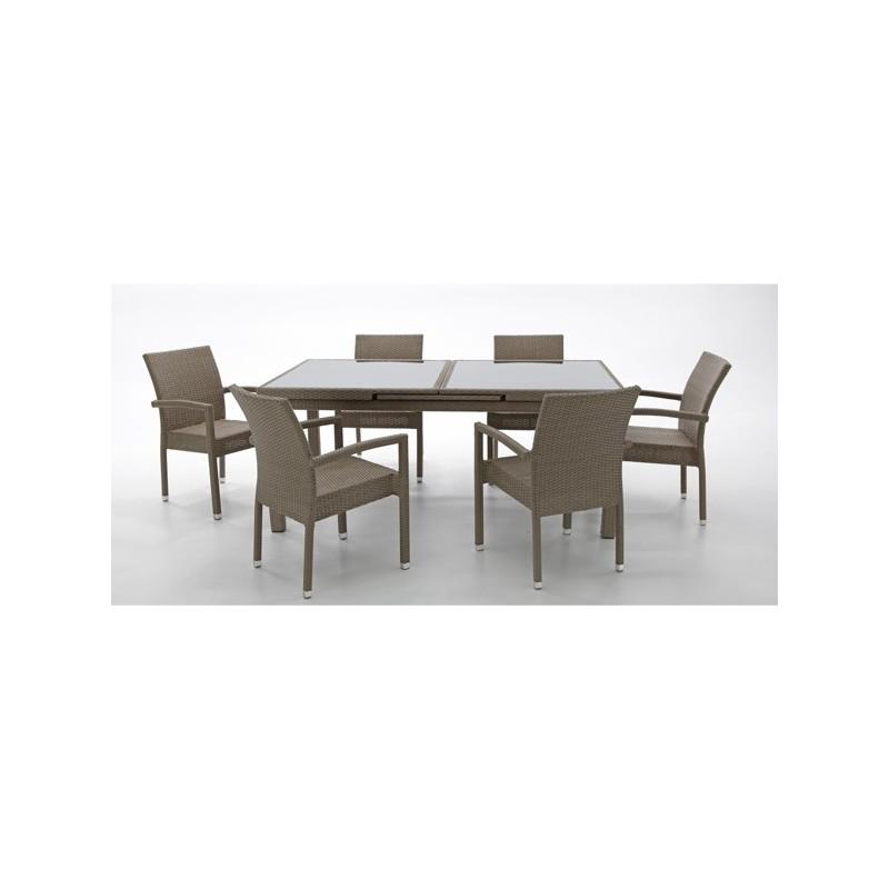 Conjunto mesa extensible y 6 sillones crema reno for Conjunto mesa y sillas jardin oferta