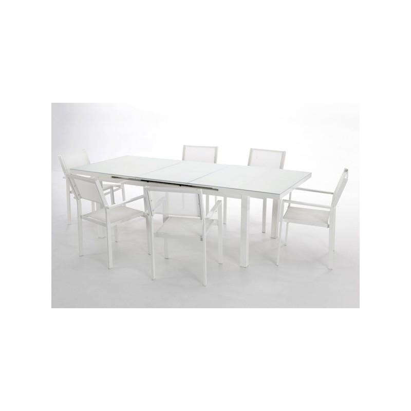 Conjunto mesa y 6 sillones para exterior cheyenne for Conjunto sillones jardin