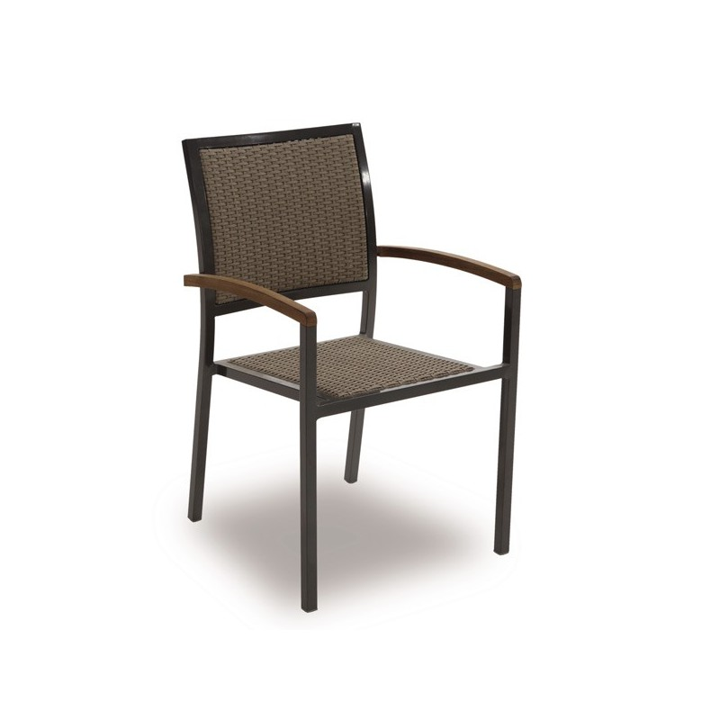 Sillon de jardin apilable chocolate lowa for Outlet muebles jardin