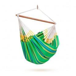 Hamaca silla exterior familiar a rayas verde Currambera